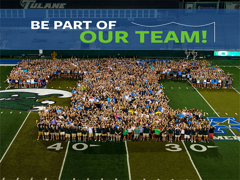 Be Part of Our Team! banner with photo of employees on football field standing to form the shape of the letter T