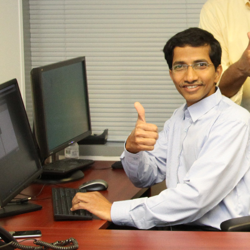 Nagendra Sunkara giving the thumbs up at his computer