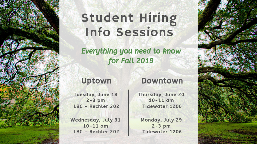 Student Hiring Info Session Schedule